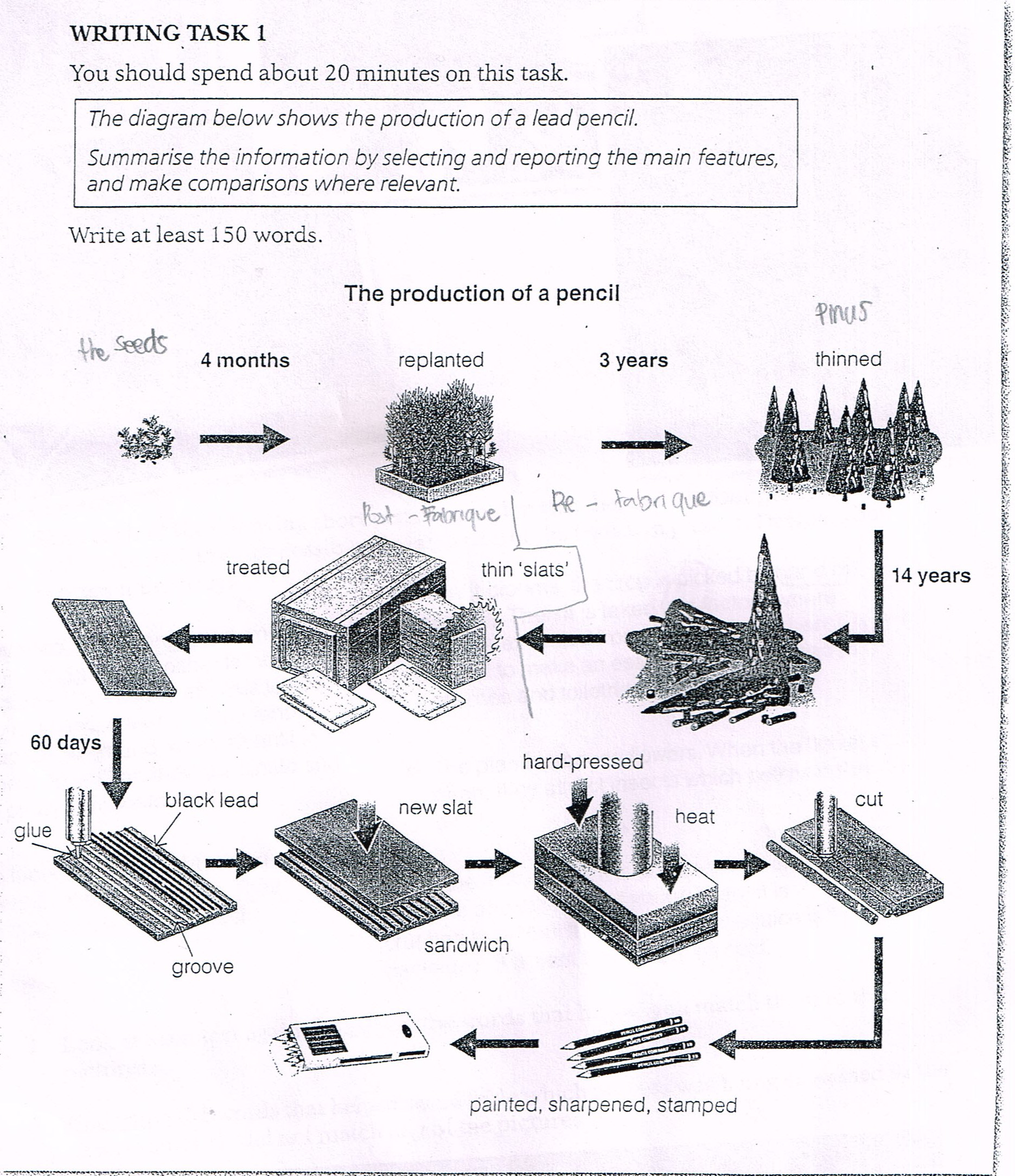 The Diagram Below Shows The Production Of A Lead Pencil